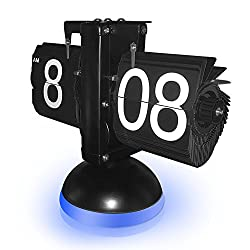 New Generation Flip Clock , KABB Mechanical Retro Flip Clock Internal Gear Operated Flip Down Clock with Voice Control LED Nightlight for Living Room Office Home Decoration (Black with Blue Light)