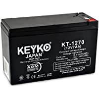 KEYKO Genuine KT-1270 12V 7Ah / Real 7.2Ah Battery SLA Sealed Lead Acid / AGM Replacement - F1 & F2 Terminal