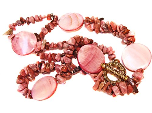 Mother Of Pearl Dyed Chip - Pink Dyed Coral Chip and Mother of Pearl Disc Shell Bead Necklace Spring Break, Casual Chic, Beach Wear, Resort Wear, #amazonhandmade