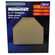 Mastercraft-25-PACK- 9 x 11-in-Aluminum Oxide Sandpaper-100 Grit Medium-Full Sheet