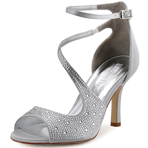- ElegantPark HP1505 Women's Peep Toe High Heels Rhinestones Buckles Satin Evening Party Prom Dress Sandals Silver US 9