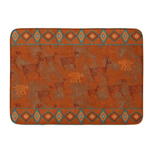 Ablitt Bath Mat Red Western Southwest Canyons Petroglyph Bathroom Santa Bathroom Decor Rug 16'' x 24'' by Ablitt