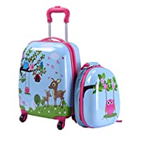 """Custpromo 2 pcs ABS Kids Suitcase Lightweight Backpack Luggage Set 16"""" Carry On Luggage with Spinner Wheels and 12"""" Backpacks Set for 2, 3, 4 year olds,Boys and Girls (Deer & Birds)"""