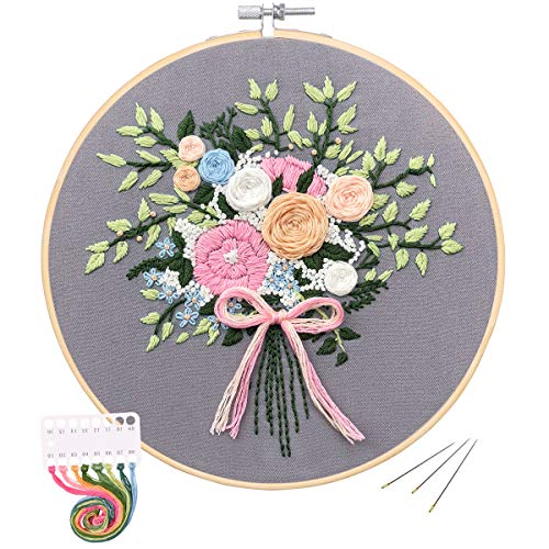 Embroidery Starter Kit with Pattern, Mikimiqi Full Range of Stamped Embroidery Kit Including Embroidery Cloth with Floral Pattern, Bamboo Embroidery Hoop, Color Threads and Tools Kit (Bouquet) ()
