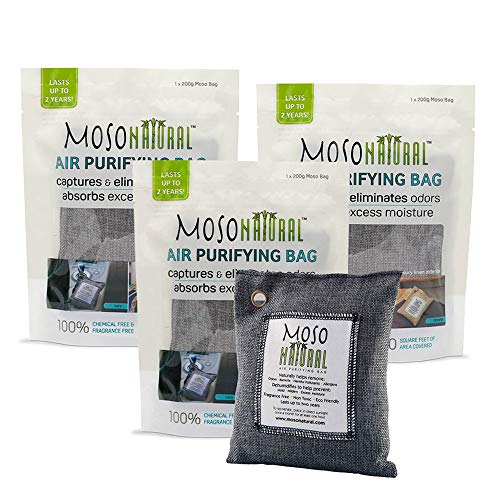 MOSO NATURAL Air Purifying Bag 3 Pack. Bamboo Charcoal Air Freshener, Deodorizer, Odor Eliminator, Odor Absorber for Cars and Closets. 200g Charcoal Color