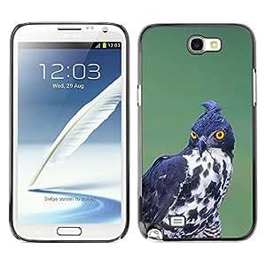 Pájaro de la presa de caza Negro Blanco Ornitología- Metal de aluminio y de plástico duro Caja del teléfono - Negro - Samsung Note 2 N7100