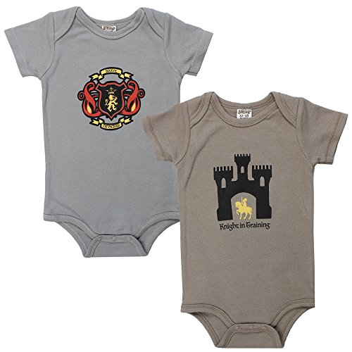 juDanzy wrap Around Kimono Style Baby boy Bodysuits (3-6 Months, Brave & Knight) ()