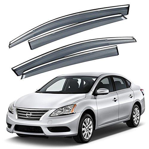 Polycarbonate Trim - VXMOTOR for 2013-2016 Nissan Sentra 4 Door Sedan - Smoke Tinted Window Visor Rain Guard Deflector w/Chrome Trim - Injection Molding Polycarbonate - PC (SEN13)