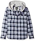 Quiksilver Big Boys' Long Sleeve Snap up Youth Flannel Shirt, Navy Blazer Snap up, S/10