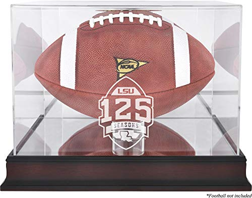 - Sports Memorabilia LSU Tigers Mahogany 125 Years of Football Anniversary Logo Football Display Case with Mirror Back - College Football Logo Display Cases