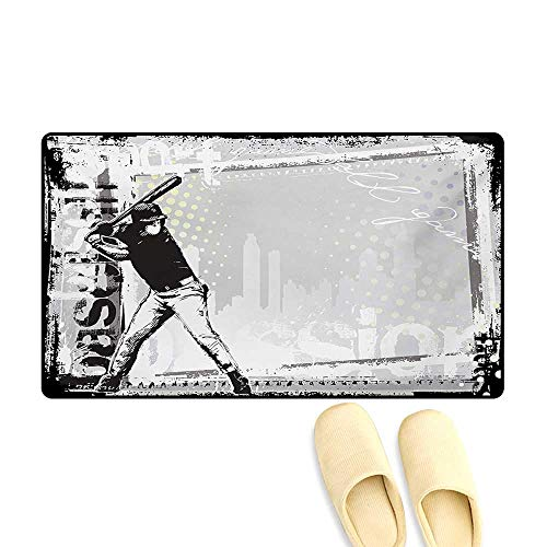 (Door Mats,Hitter in Field Graphic Distressed Backdrop Fast as You Can Image Baseball Themed,Bath Mat Non Slip,Black White,32