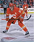 """Sean Monahan Calgary Flames Autographed 16"""" x 20"""" Alternate Jersey Face-Off Photograph - Fanatics Authentic Certified"""