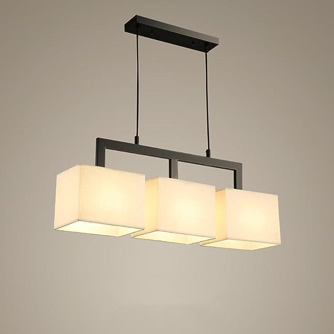 LXSEHN LED nórdico hierro Lino paño Cobertor de lámpara ...