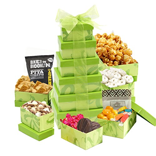 Thank You Fruit Basket (Broadway Basketeers Summer Fun Gift Tower with 6 Gift Boxes Filled With Sweets & Snacks)