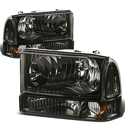 sion 4pcs Replacement Headlight+Bumper Light Kit (Smoke Lens Amber Reflector) (Ford F350 Super Duty Corner)