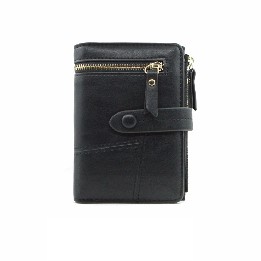 Women Leather Wallet With ID Window Card Holder Girls Coin Purse with Snap Closure(Black)