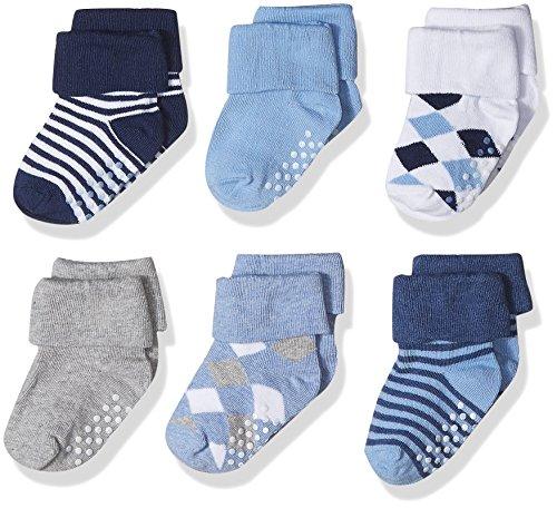 Jefferies Socks Boys' Non-Skid Argyle/Stripe Turn Cuff Socks 6 Pair Pack, Multi, (Turn Cuffs Non Skid)