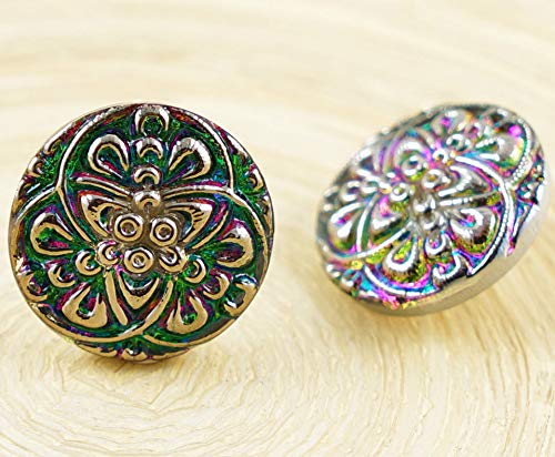 1pc Crystal Vitrail Green Dichroic Silver Three 3 Circles Flowers Round Handmade Czech Glass Button Size 8 18mm
