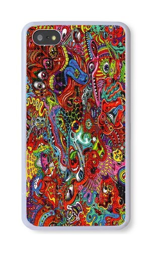 iPhone 5S Case, White PC Hard Phone Cover Case For iPhone 5S With Colorful Trippy Art Phone Case