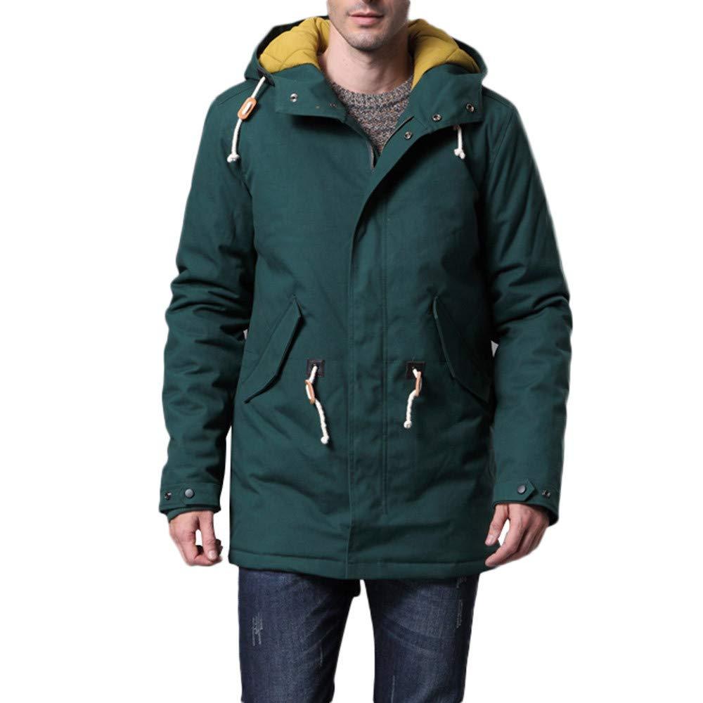 YKARITIANNA Mens Jackets /& Coats Solid Drawstring Autumn Winter Casual Long Sleeve Hooded Comfy Collar Thick Cotton Jacket