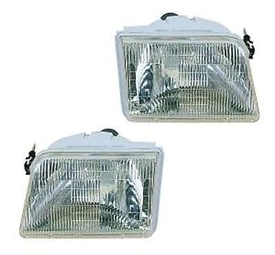 1993-1997 Ford Ranger Pickup Truck Headlight Headlamp Head Light Lamp Pair Set: Left Driver AND Right Passenger Side (1997 97 1996 96 1995 95 1994 94 1993 93)