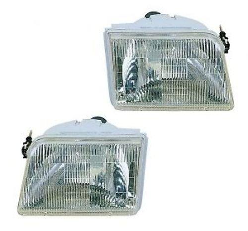 - 1993-1997 Ford Ranger Pickup Truck Headlight Headlamp Head Light Lamp Pair Set: Left Driver AND Right Passenger Side (1997 97 1996 96 1995 95 1994 94 1993 93)
