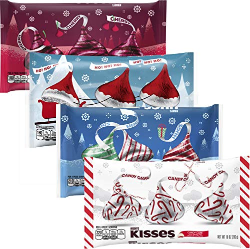 KISSES Chocolates - Cherry Cordial Santa Hat Hugs Candy Cane - Milk Chocolate Variety Pack - Bulk Christmas Assortment - 10-11 Ounce Bag (4 Pack)