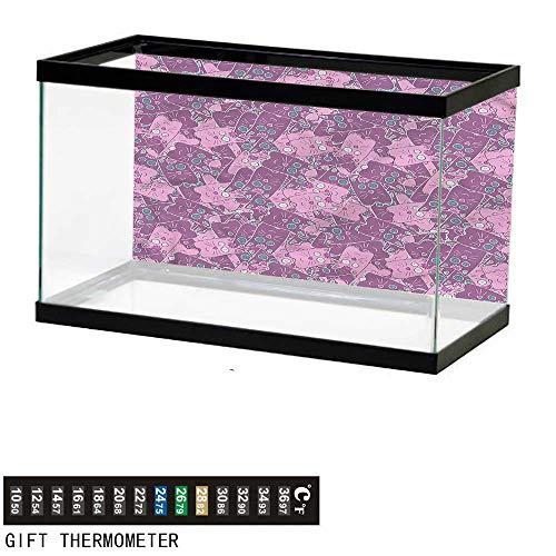 bybyhome Fish Tank Backdrop Cat,Cartoon Style Pets Pattern,Aquarium Background,36
