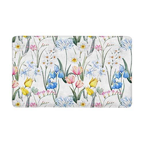 InterestPrint Watercolor Spring Tulip Flowers Pink Freesia and Blue Iris Doormat Anti-Slip Entrance Mat Floor Rug Indoor/Outdoor Door Mats Home Decor, Rubber Backing Large 30