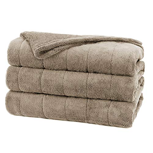 Sunbeam Heated Blanket | Velvet Plush, 10 Heat Settings, Mushroom, Full