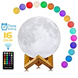 Moon Lamp with Time Setting and Stand 3D Print LED 16 Colors Hung Up Moon Light Decorative Night Lights for Birthday Kids Party Black Friday Christmas Gifts(7 inch) For Sale