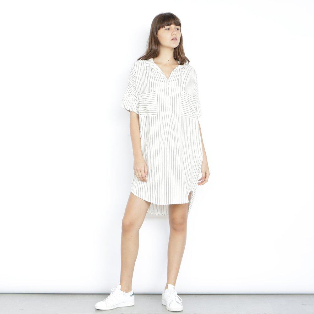 Christmas sale: Strips Pocket Dress- Knee Length Tunic dress,pin Strips print dress.