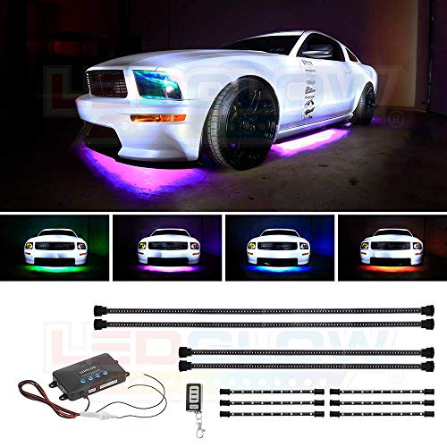 (LEDGlow 10pc Million Color Wireless LED Car Underbody and Interior Lighting Kit - 4 Underbody + 6 Interior Tubes - 378 SMD LEDs - 18 Unique Colors - 12 Unique Lighting Patterns)