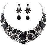 EVER FAITH Women's Austrian Crystal Teardrop Camellia Necklace Earrings Set Black Silver-Tone