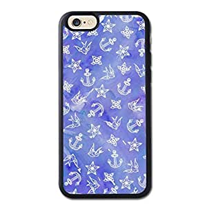 Cute Nautical Anchor Pattern On Blue Watercolor Generic High Quality Snap On Soft TPU Cellphone Case Back Skin Cover Protector For iPhone 6 4.7inch Black