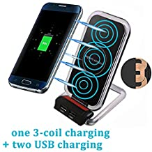 3 Coil Qi Wireless Charger, Inductive Phone Charger with Dual USB Ports Charging Station Powermat Mobile Phone Holder Stand for Samsung Galaxy S8 / S7 / S7 Edge / S6 / S6 Edge / Note 5, Nokia Lumia, Google Nexus, LG and all Qi-enabled Devices, Black