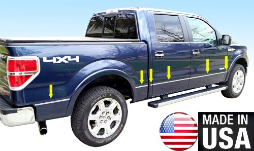 Made In USA! 09-2014 F150 Crew Cab 5.5' Short Bed W/Fender Flare Groove Insert Rocker Panel Chrome Stainless Steel Body Side Moulding Molding Trim Cover 1/2