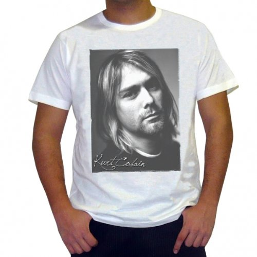 Kurt Cobain: Men's T-shirt Celebrity Star ONE IN THE CITY - White, S