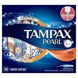 Tampax Pearl Plastic Tampons, Super Plus Absorbency, Unscented, 36 Count - Pack of 2 (72 Total Count)