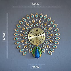 GFL Clocks Creative Peacock Wall Clock Metal Design Wall Art Quartz Clock Living Room Bedroom Restaurant Mute Electronic Clocks(60cm60cm) (Color : B)