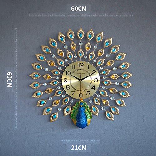(Clocks Creative Peacock Wall clock Metal Design Wall Art Quartz Clock Living Room Bedroom Restaurant Mute Electronic Clocks(60cm60cm) ( Color : B ))