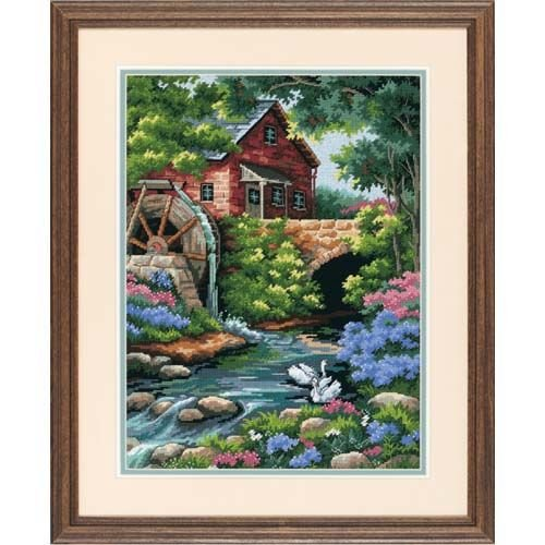 - Dimensions Old Mill Cottage Needlepoint Kit, 12'' W x 16'' H