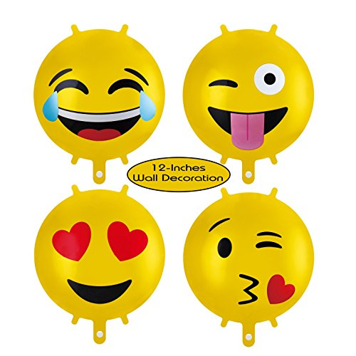 - Treasures Gifted Pack of 8 Emoji Themed Party Supplies 12 Inch Metallic Foil Mylar Birthday Balloons for Fun Kids Yellow Happy Smiley Faces to a Halloween Carnival
