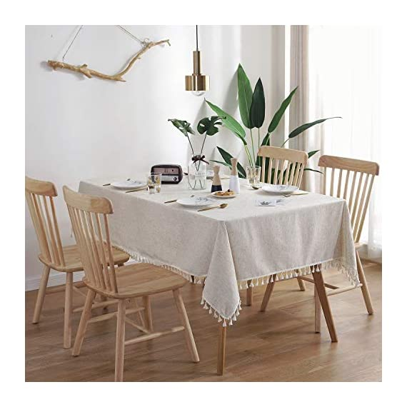 """ColorBird Solid Color Tassel Tablecloth Cotton Linen Dust-Proof Shrink-Proof Table Cover for Kitchen Dining Farmhouse Tabletop Decoration (Square, 55 x 55 Inch, Linen) - MASTERFUL DESIGN - Created from finest cotton linens and finished with beautiful tassels edge, this ColorBird stylish linen tablecloth will make your meal time more luxurious by adding shimmery flatware and simplistic porcelain plates DURABLE MATERIAL - Manufactured from super, hard wearing 100% cotton linen fabric, with a seamless construction that won't easily fray after long term use; Tablecloth measures 55"""" Width x 55"""" Length (140 x 140 cm), includes tassel length, size deviation is between 1 to 2 inch. Fits tables that seat 4 people EASY TO CARE FOR - Machine washable in low temperature or cold water, gentle cycle; Hand wash best; No bleaching; Tumble dry on low heat or lay flat to dry - tablecloths, kitchen-dining-room-table-linens, kitchen-dining-room - 51CBJLszTIL. SS570  -"""