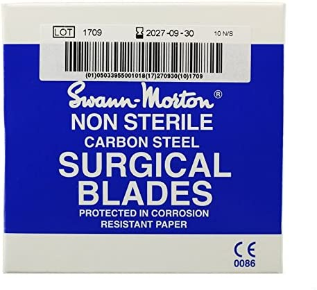 100 Swann Morton No 11 Non-Sterile Scalpel and Surgical Blades