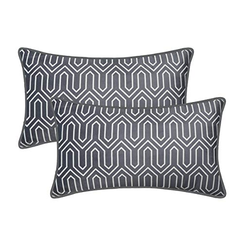 BRAWARM Cozy Fleece Bolster Pillow Cases Covers for Couch Bed Sofa Vintage Chevron Lumbar Cushion Cover Geometric Figure Pillowcase with Piping Edges Home Decor 14 X 20 Inches Charcoal Gray Pack of 2