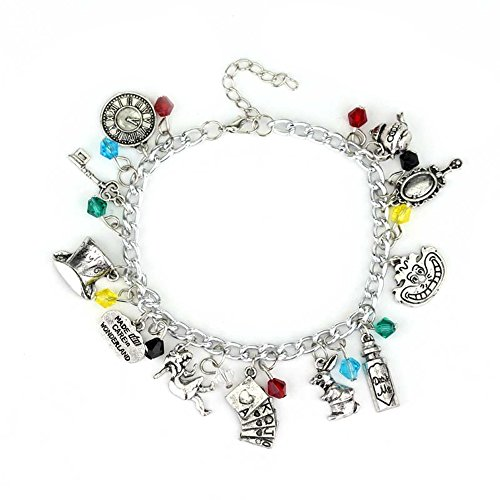 Q&Q Fashion Vintage Fairytale Charms Alice in Wonderland Style Frog Mirror Tea Party Chain Girl Cuff Bangle Bracelet by Superheroes Brand