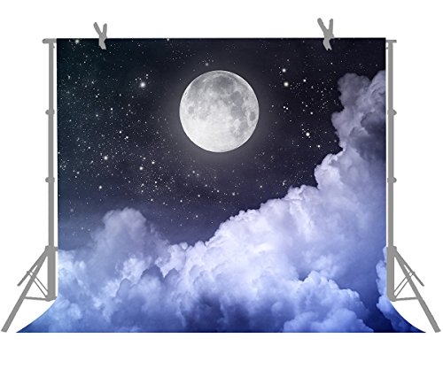 FUERMOR Customized Background 7X5FT Bright Full Moon and Stars Photography Backdrop for Studio Photo Shooting Props M244]()