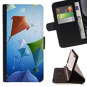 For Samsung Galaxy A5 ( A5000 ) 2014 Version Case , Diseño Partido de la cometa- la tarjeta de Crédito Slots PU Funda de cuero Monedero caso cubierta de piel