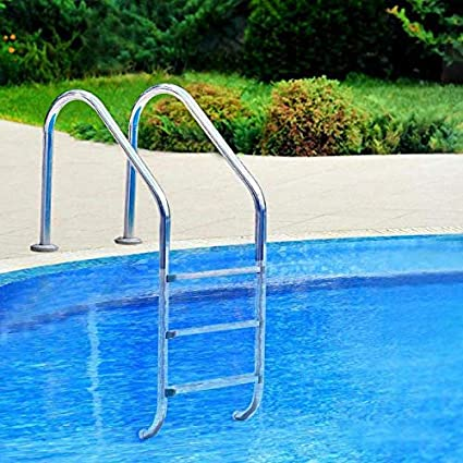 MTFY Swimming Pool Ladder, Stainless Steel Swimming Pool Step Lader for  in-Pools, 2 Step Non Slip Heavy Duty Pool Entry Ladder with Easy Mount Legs